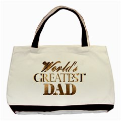World s Greatest Dad Gold Look Text Elegant Typography Basic Tote Bag (Two Sides)