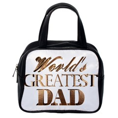 World s Greatest Dad Gold Look Text Elegant Typography Classic Handbags (One Side)