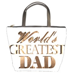 World s Greatest Dad Gold Look Text Elegant Typography Bucket Bags