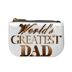 World s Greatest Dad Gold Look Text Elegant Typography Mini Coin Purses