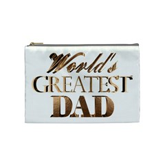 World s Greatest Dad Gold Look Text Elegant Typography Cosmetic Bag (Medium)
