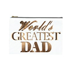 World s Greatest Dad Gold Look Text Elegant Typography Cosmetic Bag (Large)
