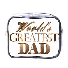 World s Greatest Dad Gold Look Text Elegant Typography Mini Toiletries Bags