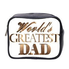 World s Greatest Dad Gold Look Text Elegant Typography Mini Toiletries Bag 2-Side