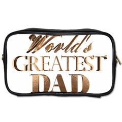 World s Greatest Dad Gold Look Text Elegant Typography Toiletries Bags