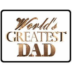 World s Greatest Dad Gold Look Text Elegant Typography Fleece Blanket (Large)