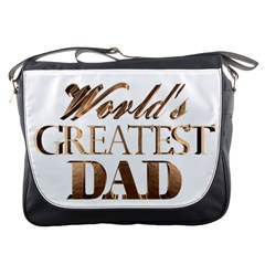 World s Greatest Dad Gold Look Text Elegant Typography Messenger Bags