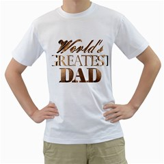 World s Greatest Dad Gold Look Text Elegant Typography Men s T-Shirt (White)