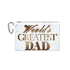 World s Greatest Dad Gold Look Text Elegant Typography Canvas Cosmetic Bag (S)