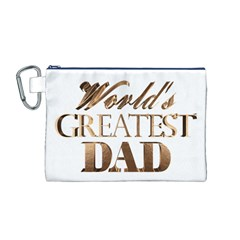 World s Greatest Dad Gold Look Text Elegant Typography Canvas Cosmetic Bag (M)
