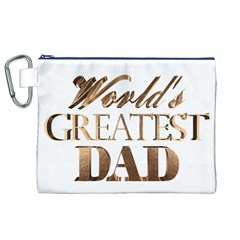 World s Greatest Dad Gold Look Text Elegant Typography Canvas Cosmetic Bag (XL)