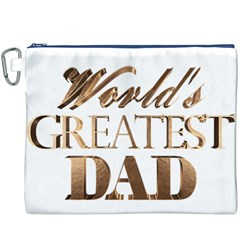 World s Greatest Dad Gold Look Text Elegant Typography Canvas Cosmetic Bag (XXXL)