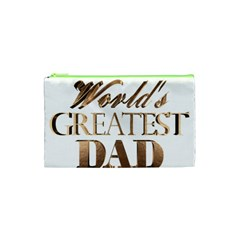 World s Greatest Dad Gold Look Text Elegant Typography Cosmetic Bag (XS)