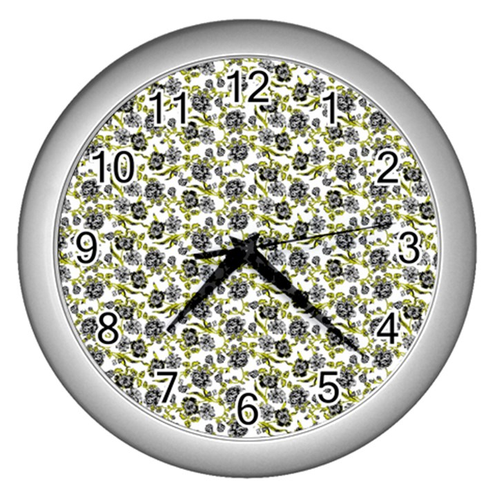 Roses pattern Wall Clocks (Silver)
