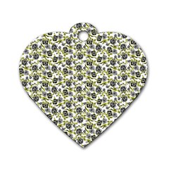 Roses pattern Dog Tag Heart (One Side)