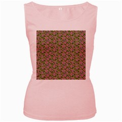 Roses pattern Women s Pink Tank Top