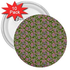 Roses pattern 3  Buttons (10 pack)