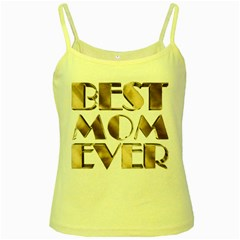 Best Mom Ever Gold Look Elegant Typography Yellow Spaghetti Tank