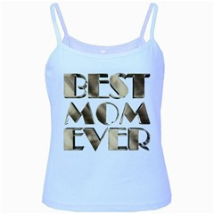 Best Mom Ever Gold Look Elegant Typography Baby Blue Spaghetti Tank