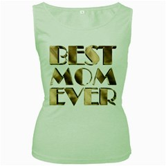 Best Mom Ever Gold Look Elegant Typography Women s Green Tank Top