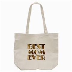 Best Mom Ever Gold Look Elegant Typography Tote Bag (Cream)