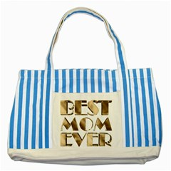 Best Mom Ever Gold Look Elegant Typography Striped Blue Tote Bag