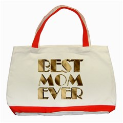 Best Mom Ever Gold Look Elegant Typography Classic Tote Bag (Red)