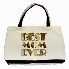 Best Mom Ever Gold Look Elegant Typography Basic Tote Bag (Two Sides)
