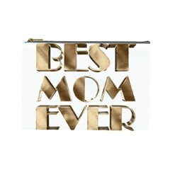 Best Mom Ever Gold Look Elegant Typography Cosmetic Bag (Large)