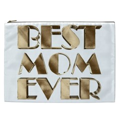 Best Mom Ever Gold Look Elegant Typography Cosmetic Bag (XXL)