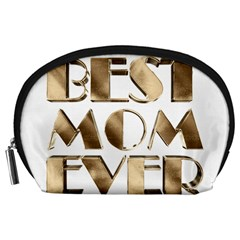Best Mom Ever Gold Look Elegant Typography Accessory Pouches (Large)