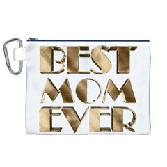 Best Mom Ever Gold Look Elegant Typography Canvas Cosmetic Bag (XL)
