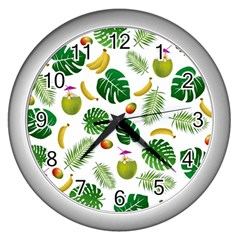 Tropical pattern Wall Clocks (Silver)