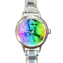 Abraham Lincoln Portrait Rainbow Colors Typography Round Italian Charm Watch