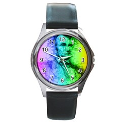 Abraham Lincoln Portrait Rainbow Colors Typography Round Metal Watch
