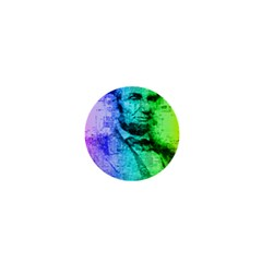 Abraham Lincoln Portrait Rainbow Colors Typography 1  Mini Buttons