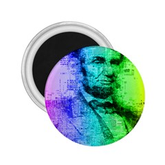 Abraham Lincoln Portrait Rainbow Colors Typography 2.25  Magnets