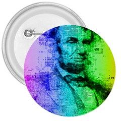 Abraham Lincoln Portrait Rainbow Colors Typography 3  Buttons