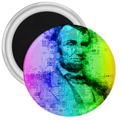 Abraham Lincoln Portrait Rainbow Colors Typography 3  Magnets