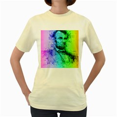 Abraham Lincoln Portrait Rainbow Colors Typography Women s Yellow T-Shirt
