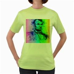 Abraham Lincoln Portrait Rainbow Colors Typography Women s Green T-Shirt