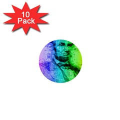 Abraham Lincoln Portrait Rainbow Colors Typography 1  Mini Buttons (10 pack)