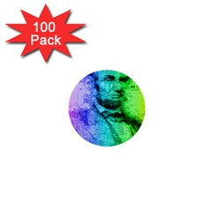 Abraham Lincoln Portrait Rainbow Colors Typography 1  Mini Buttons (100 pack)