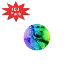 Abraham Lincoln Portrait Rainbow Colors Typography 1  Mini Magnets (100 pack)