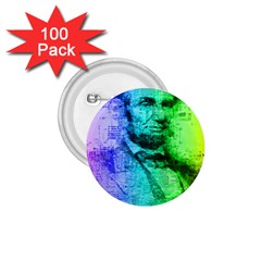 Abraham Lincoln Portrait Rainbow Colors Typography 1.75  Buttons (100 pack)