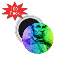Abraham Lincoln Portrait Rainbow Colors Typography 1.75  Magnets (100 pack)