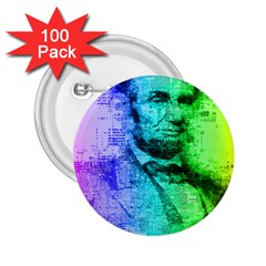 Abraham Lincoln Portrait Rainbow Colors Typography 2.25  Buttons (100 pack)