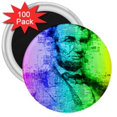 Abraham Lincoln Portrait Rainbow Colors Typography 3  Magnets (100 pack)