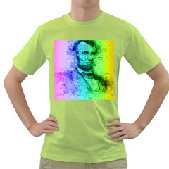 Abraham Lincoln Portrait Rainbow Colors Typography Green T-Shirt