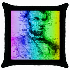 Abraham Lincoln Portrait Rainbow Colors Typography Throw Pillow Case (Black)